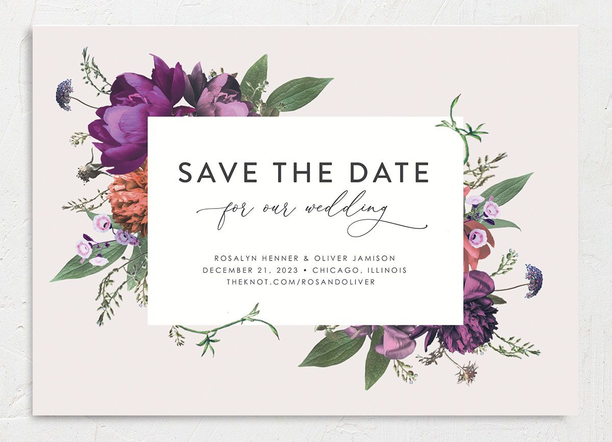 Blooming Botanical save the date closeup purple front only