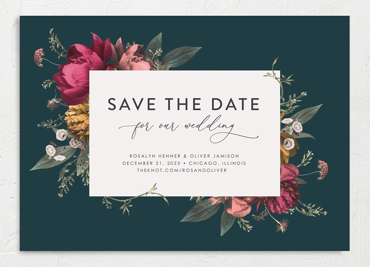 Blooming Botanical save the date closeup teal front only