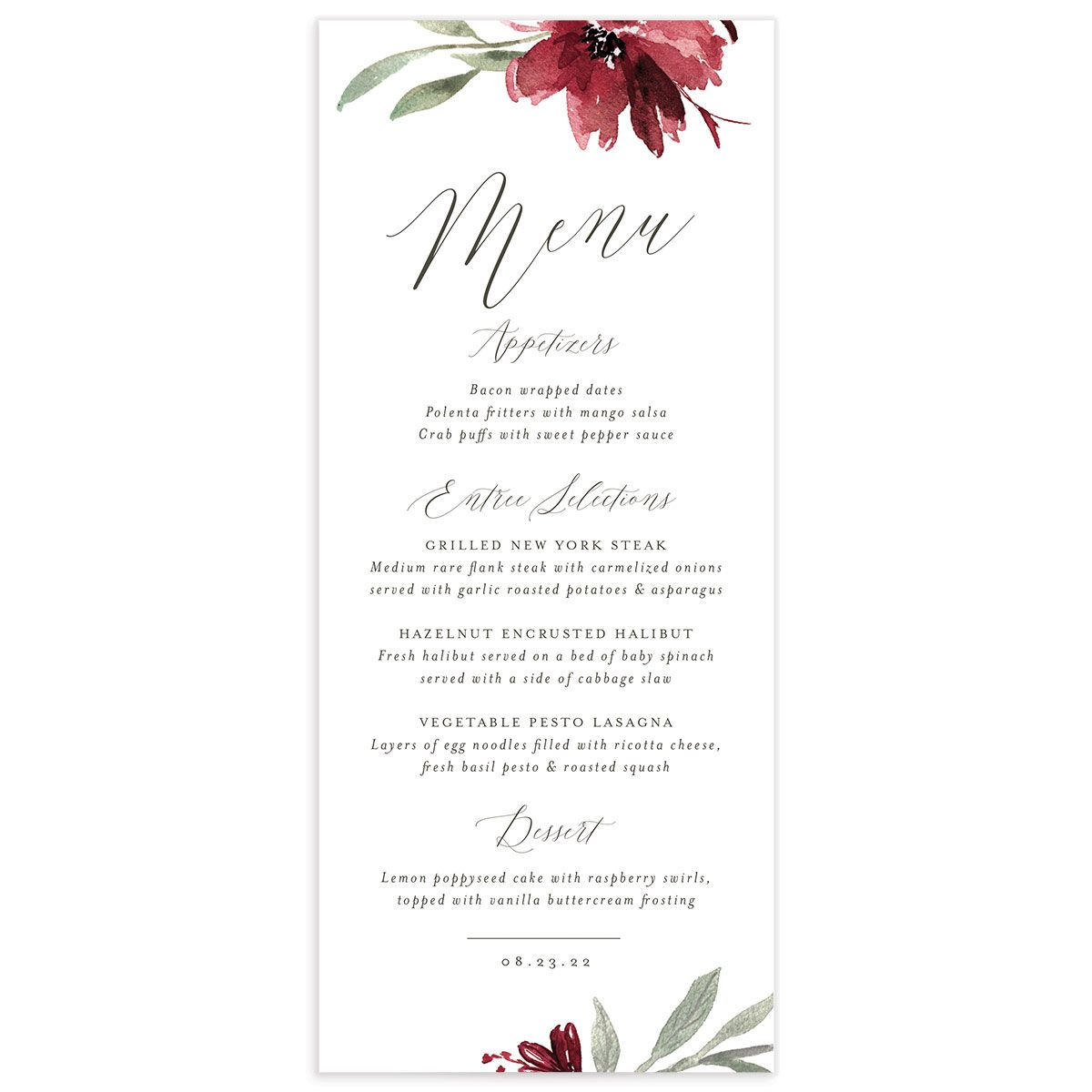 Muted Floral Wedding Menu Card front berry