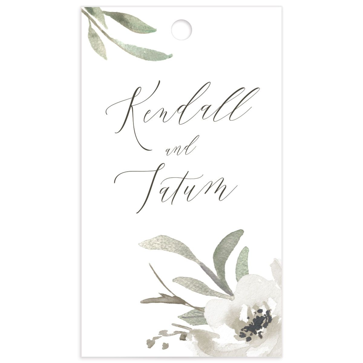 Muted Floral Wedding Gift Tag front white