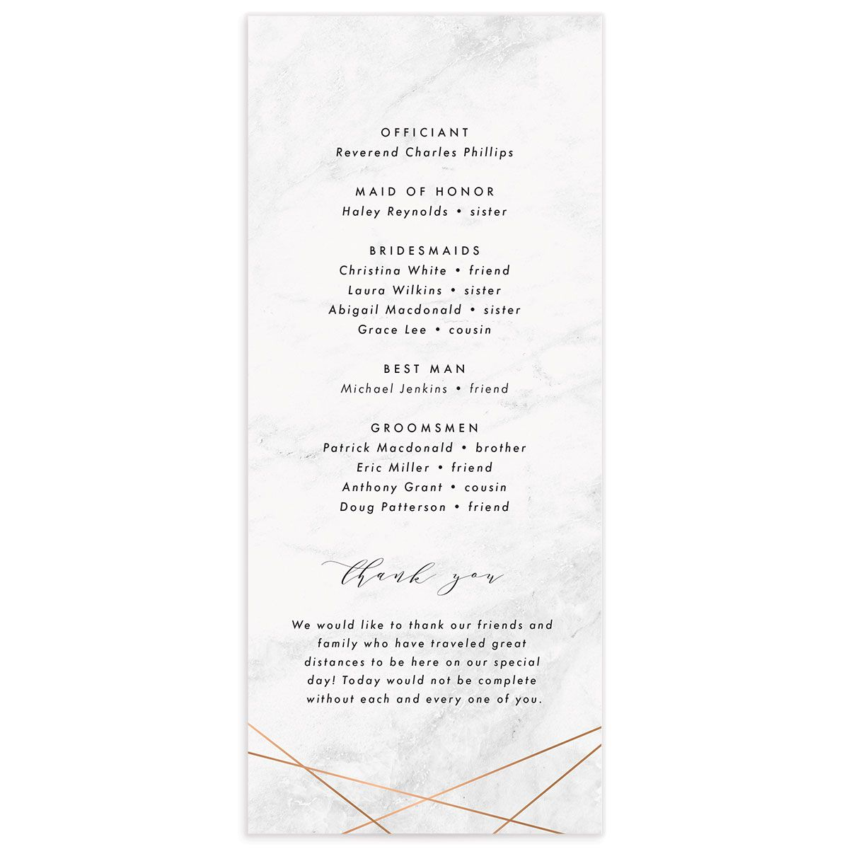 Geometric Marble Wedding Ceremony card back