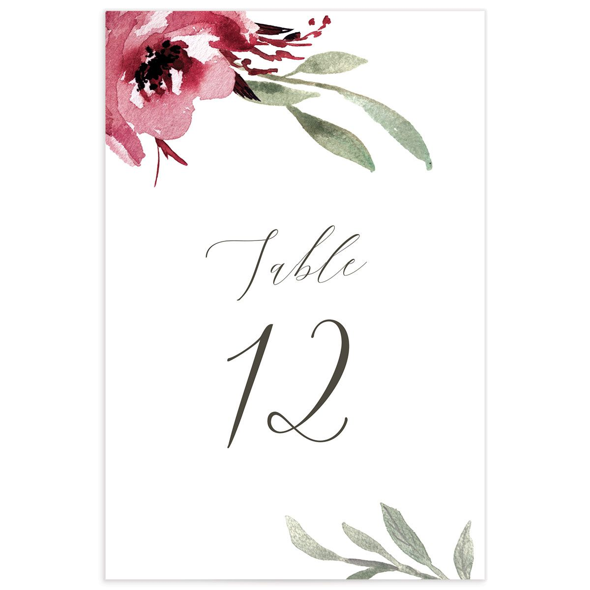 Muted Floral Wedding Table Numbers front berry