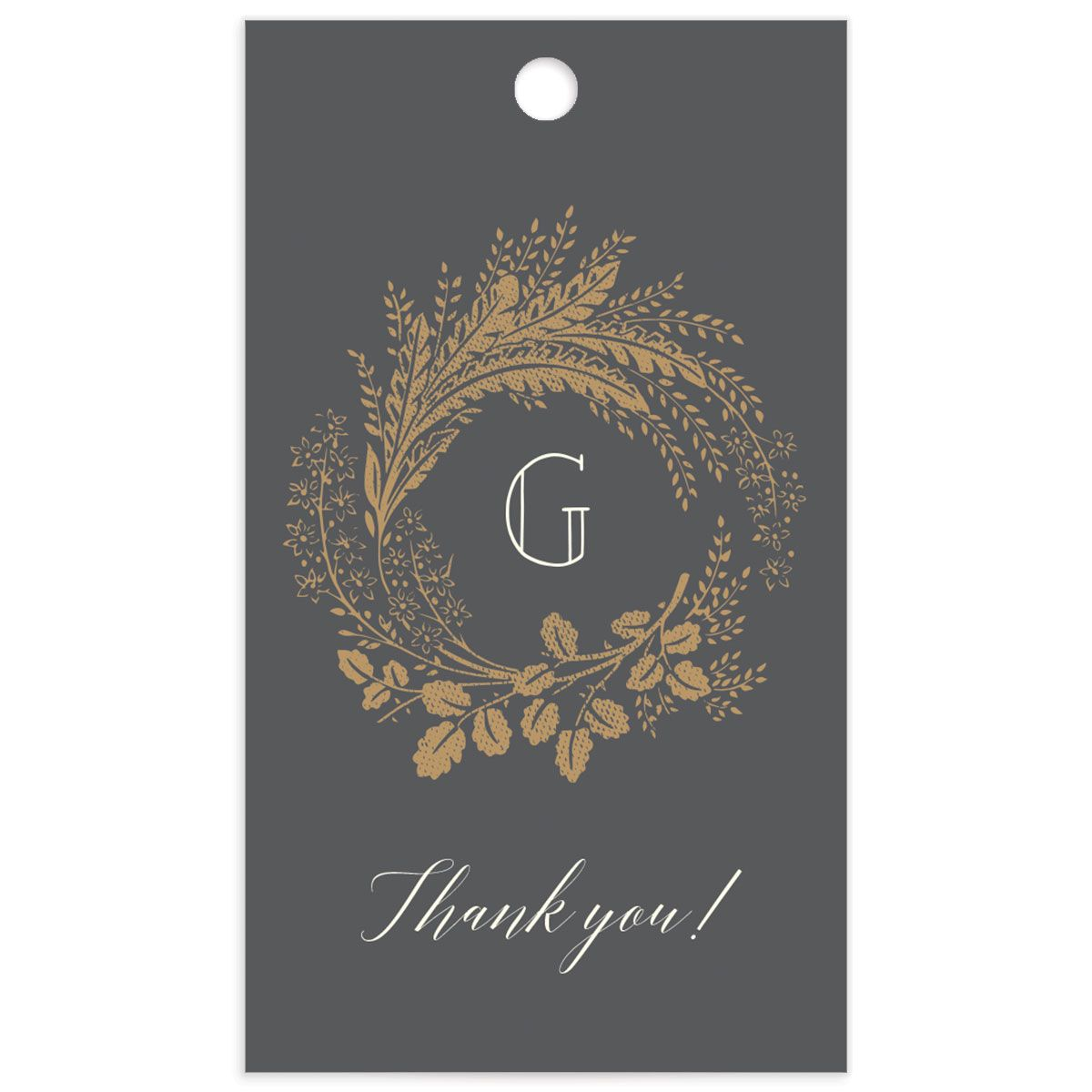 Woodsy Wreath gift tag front grey