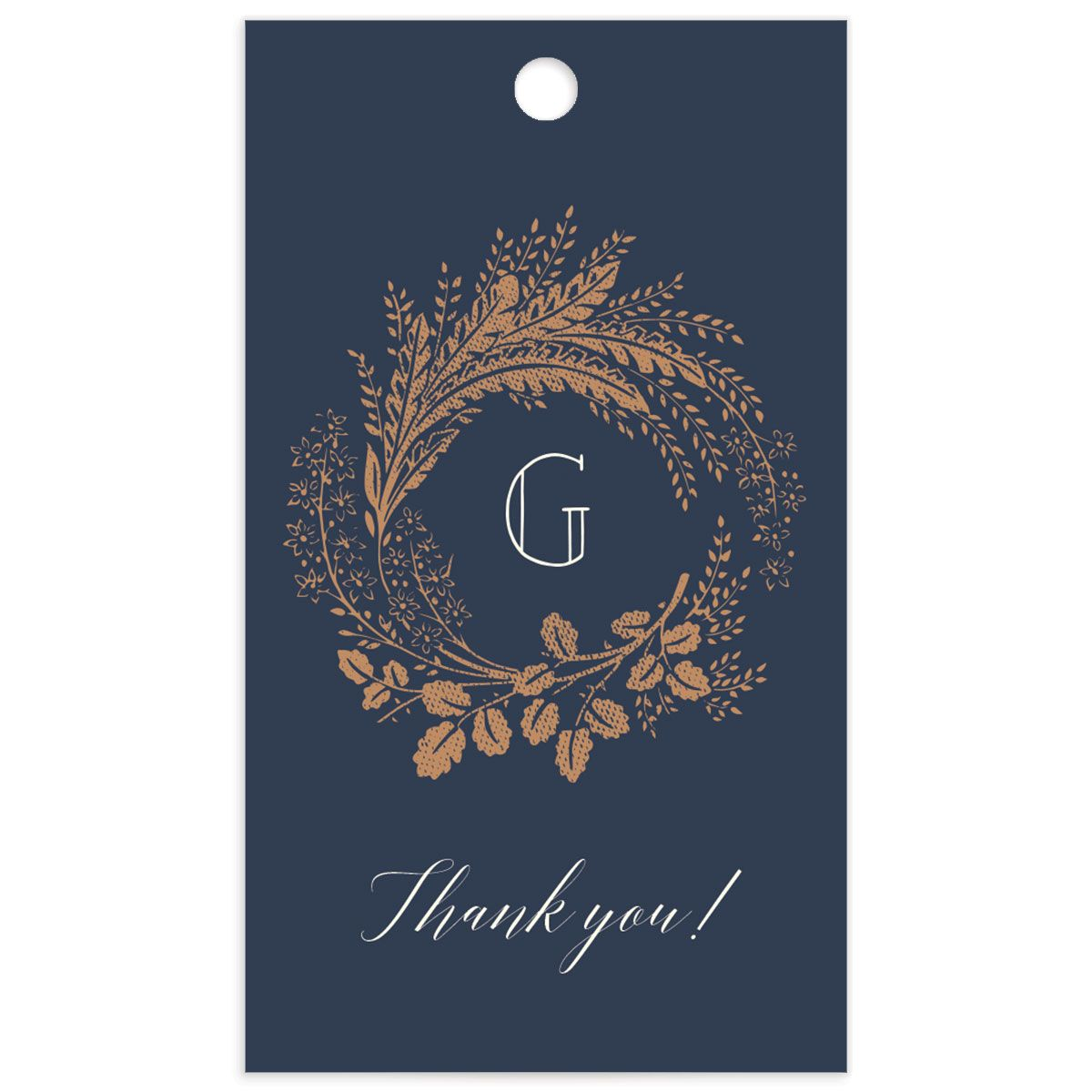 Woodsy Wreath gift tag front blue