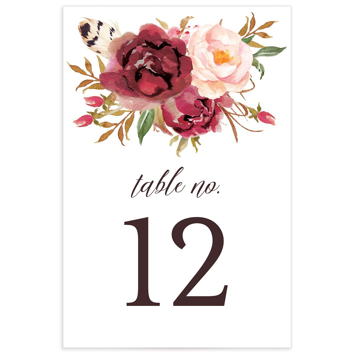 Bohemian Floral Table Numbers front burgundy