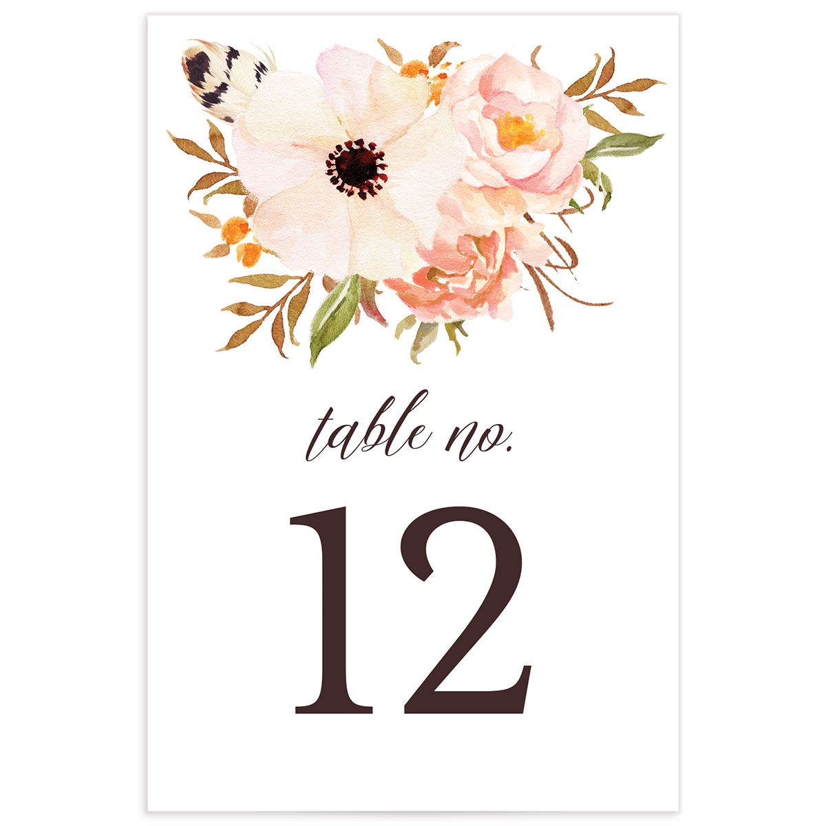 Bohemian Floral Table Numbers front peach