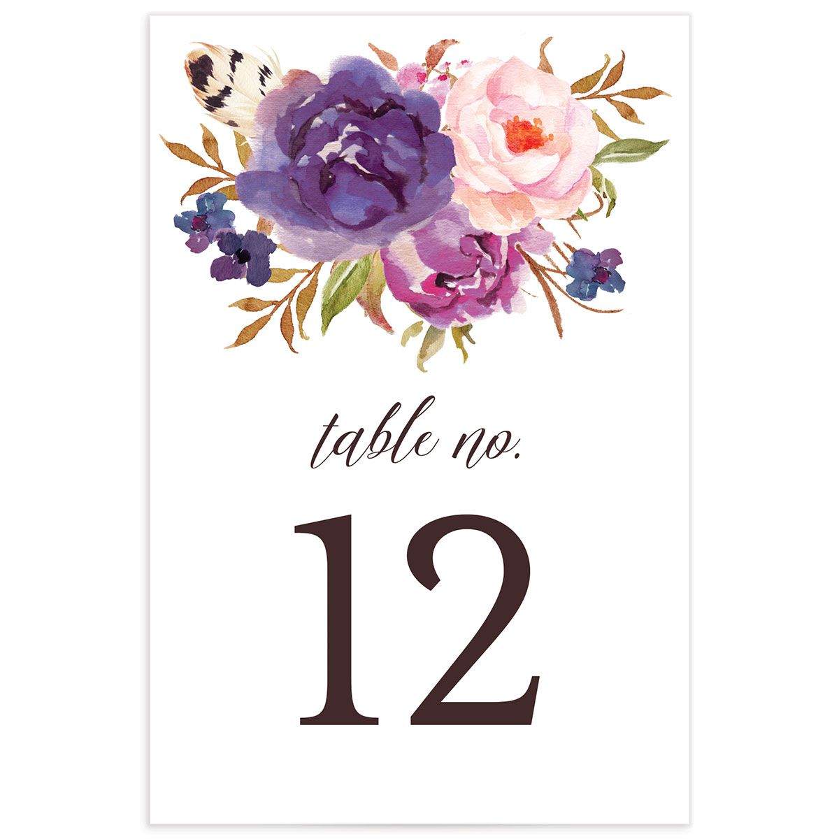 Bohemian Floral Table Numbers front purple