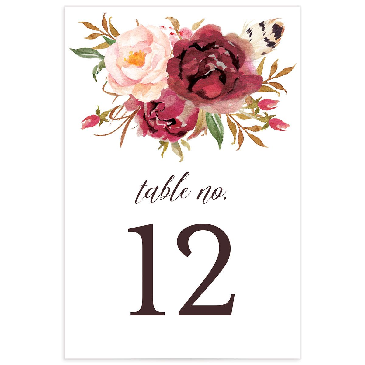 Bohemian Floral Table Numbers back burgundy