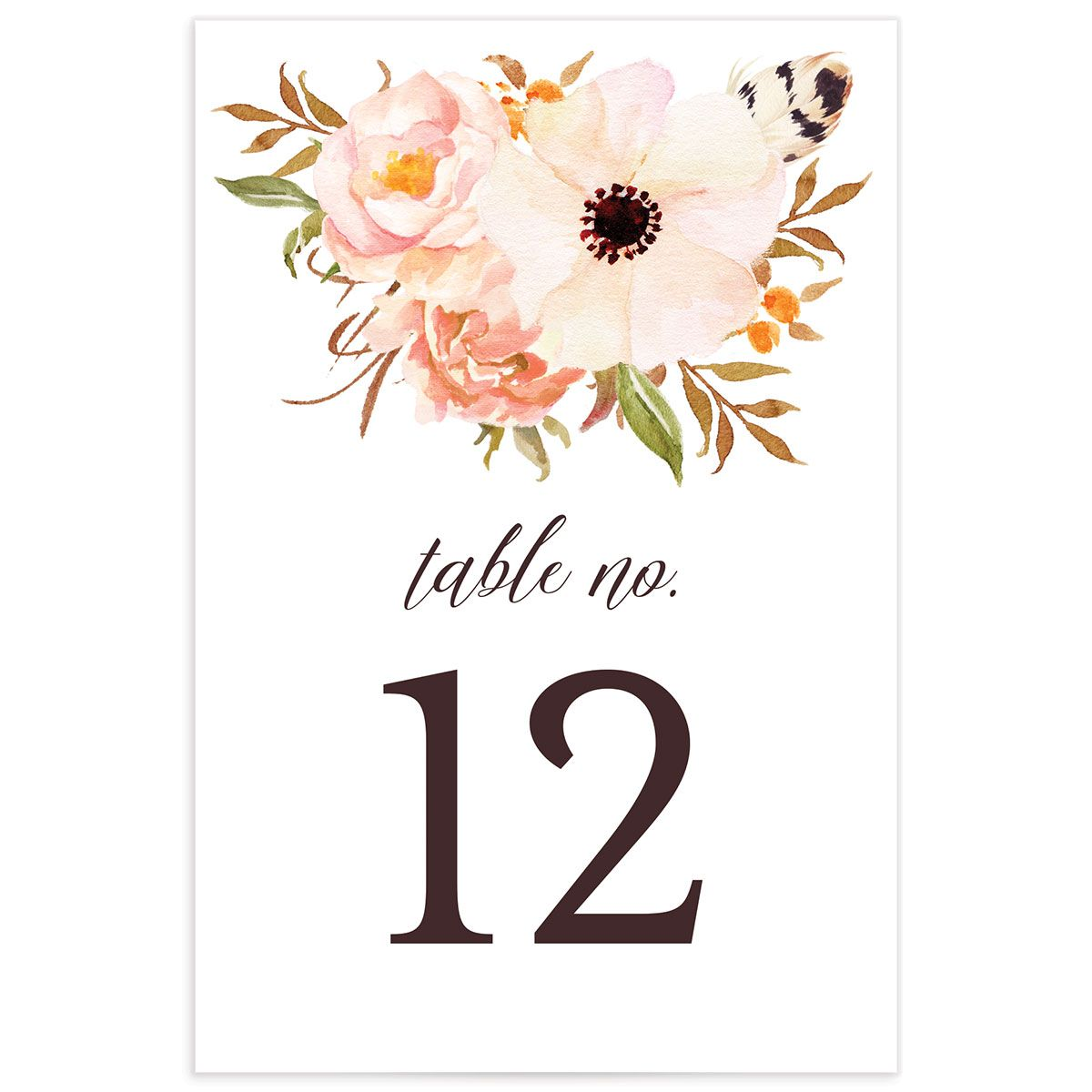 Bohemian Floral Table Numbers back peach