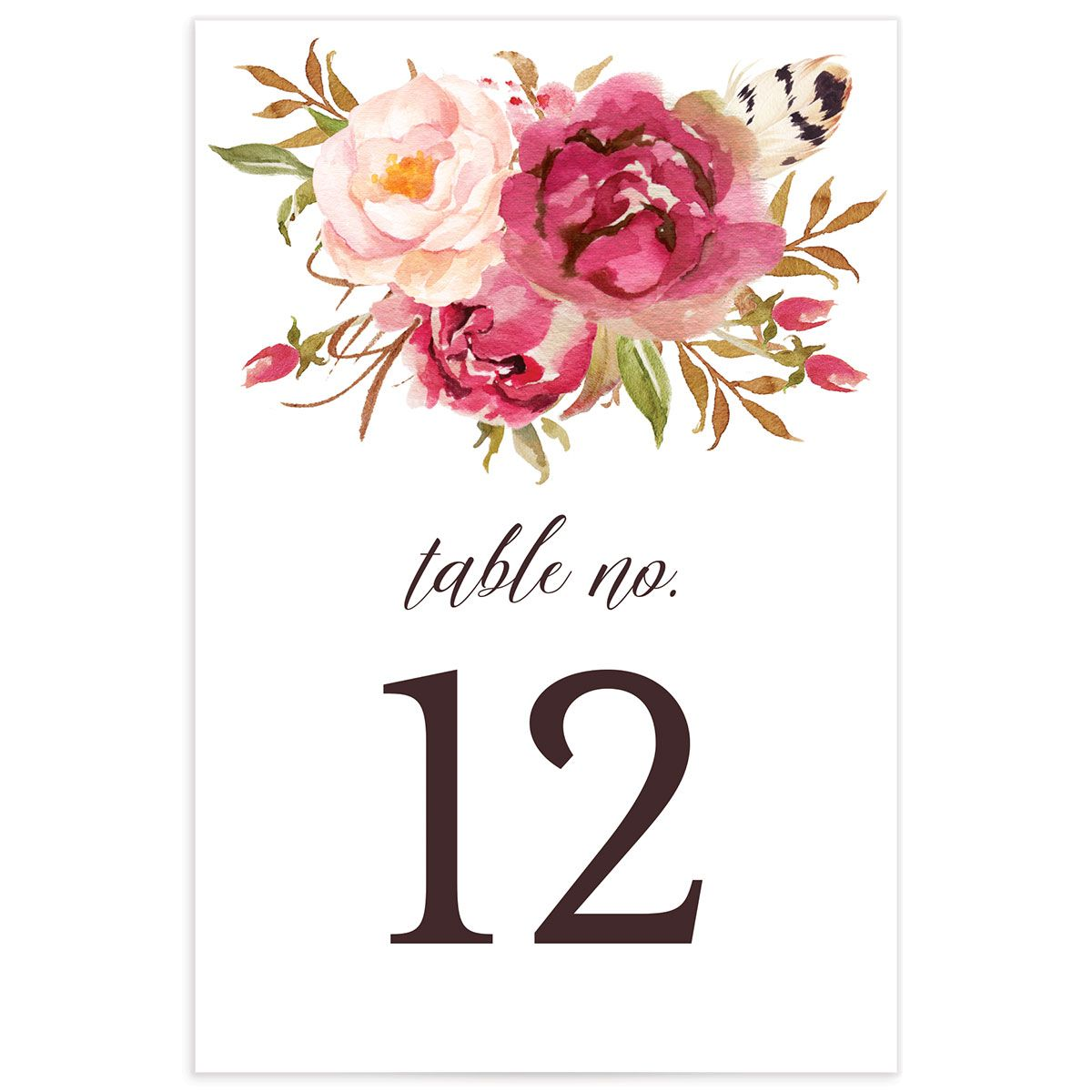Bohemian Floral Table Numbers back pink