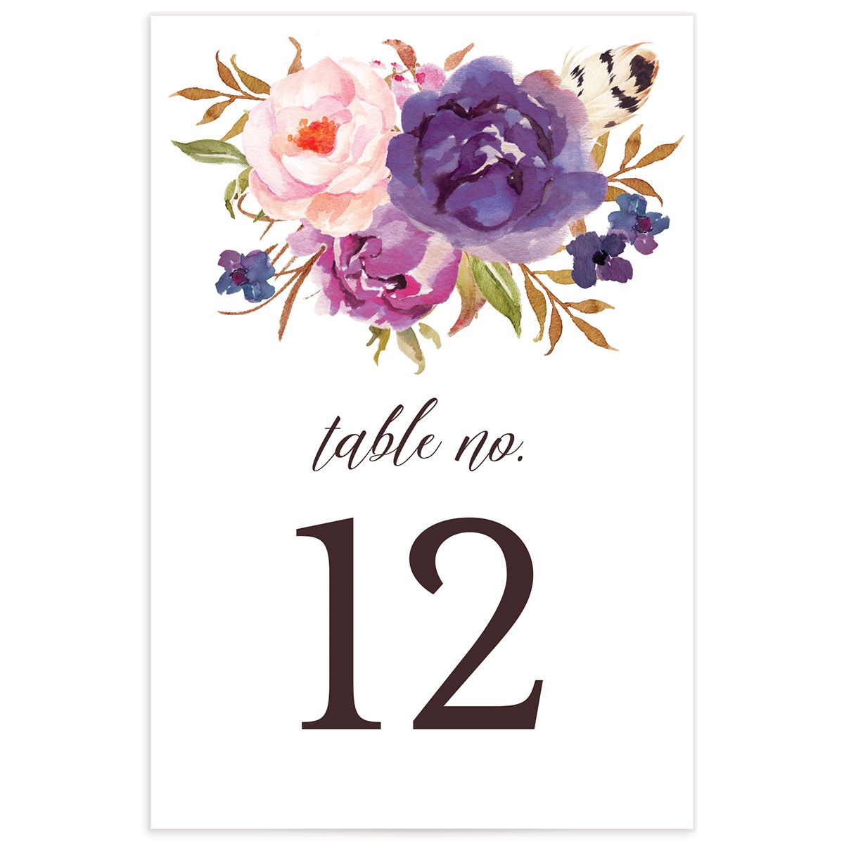 Bohemian Floral Table Numbers back purple