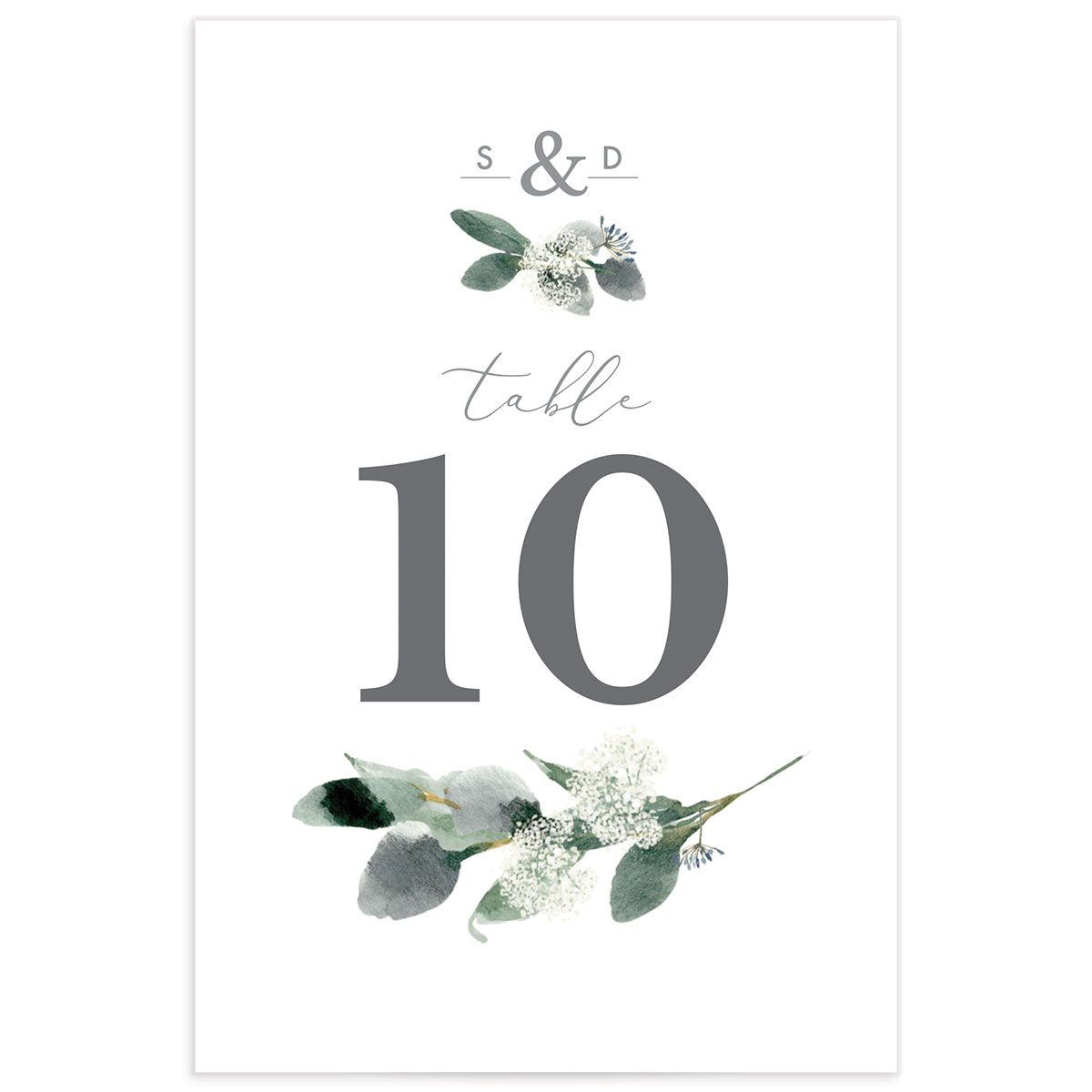 Elegant Greenery table number front