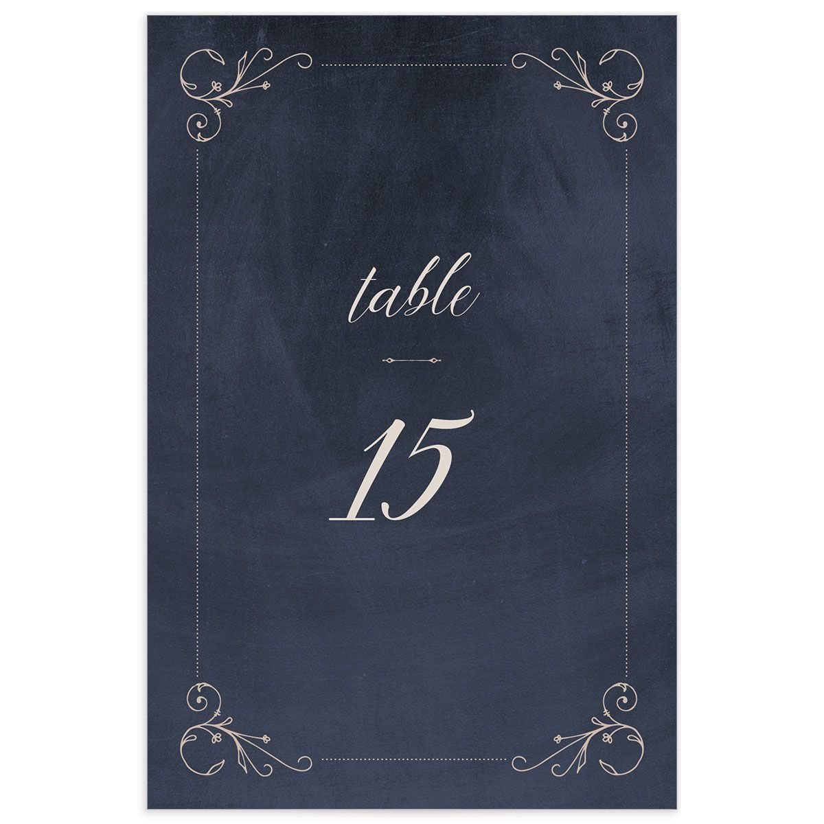 Vintage Luxe Wedding Table Number Front Blue
