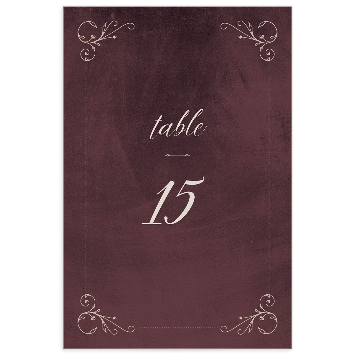 Vintage Luxe Wedding Table Number Front Red