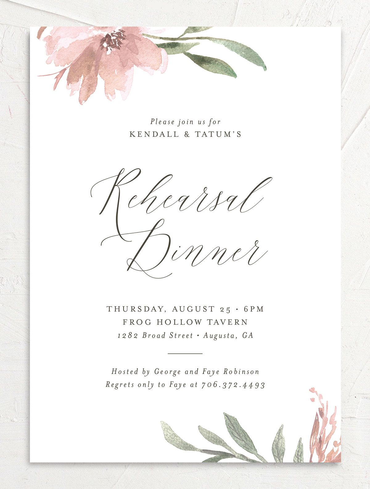 Muted Floral Rehearsal Dinner Invitation front pink
