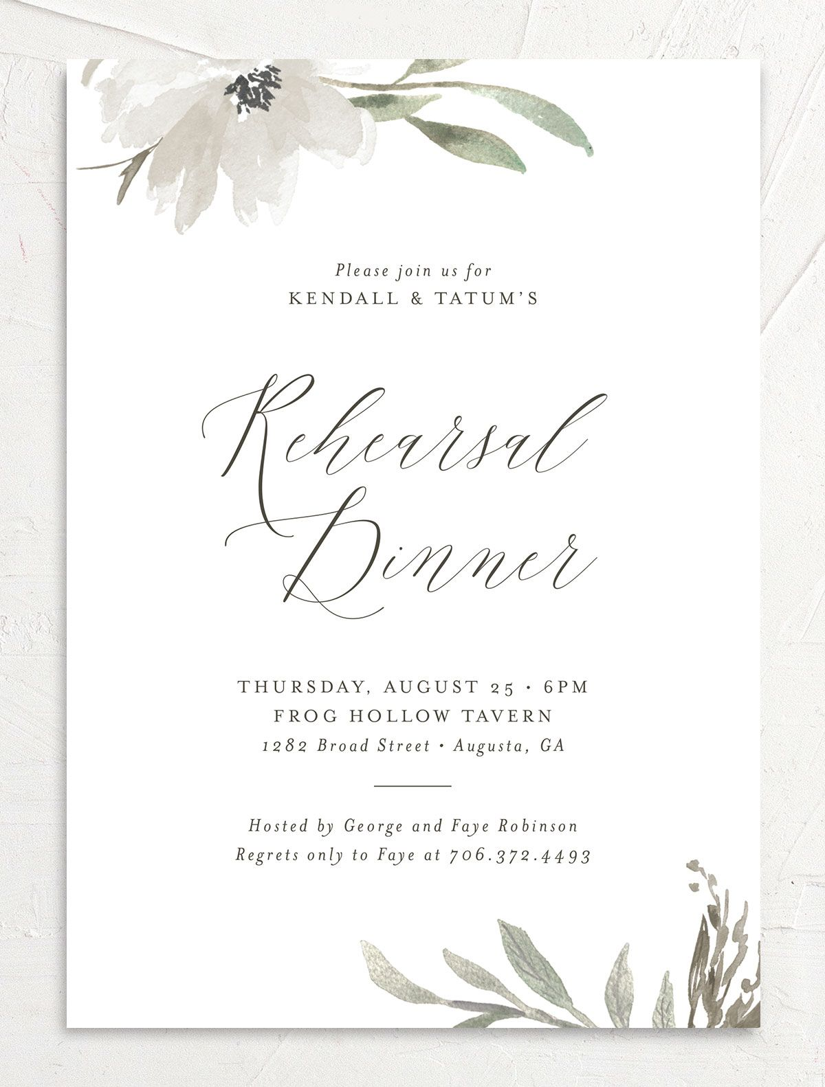 Muted Floral Rehearsal Dinner Invitation front white
