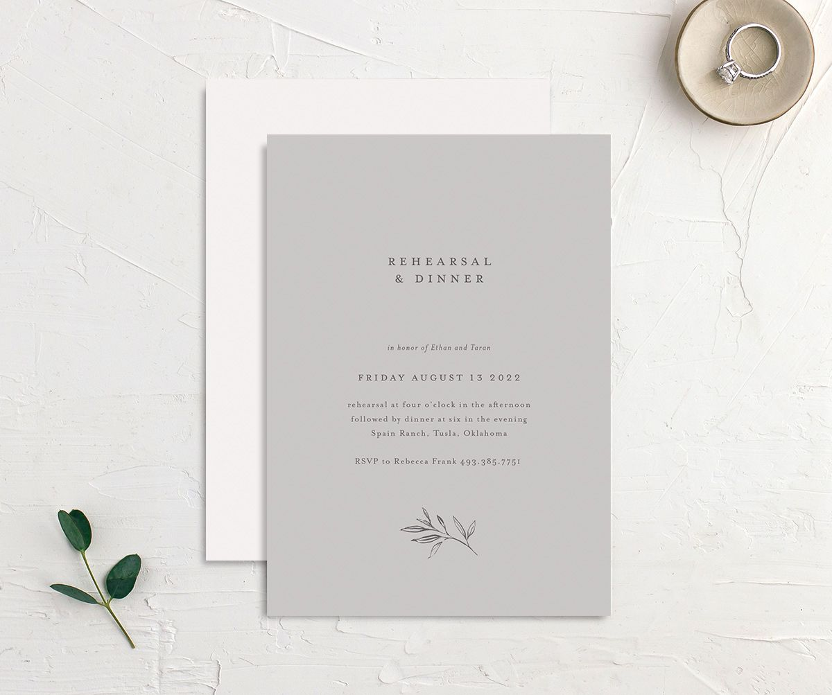 Minimal Leaves rehearsal dinner invitation front and back