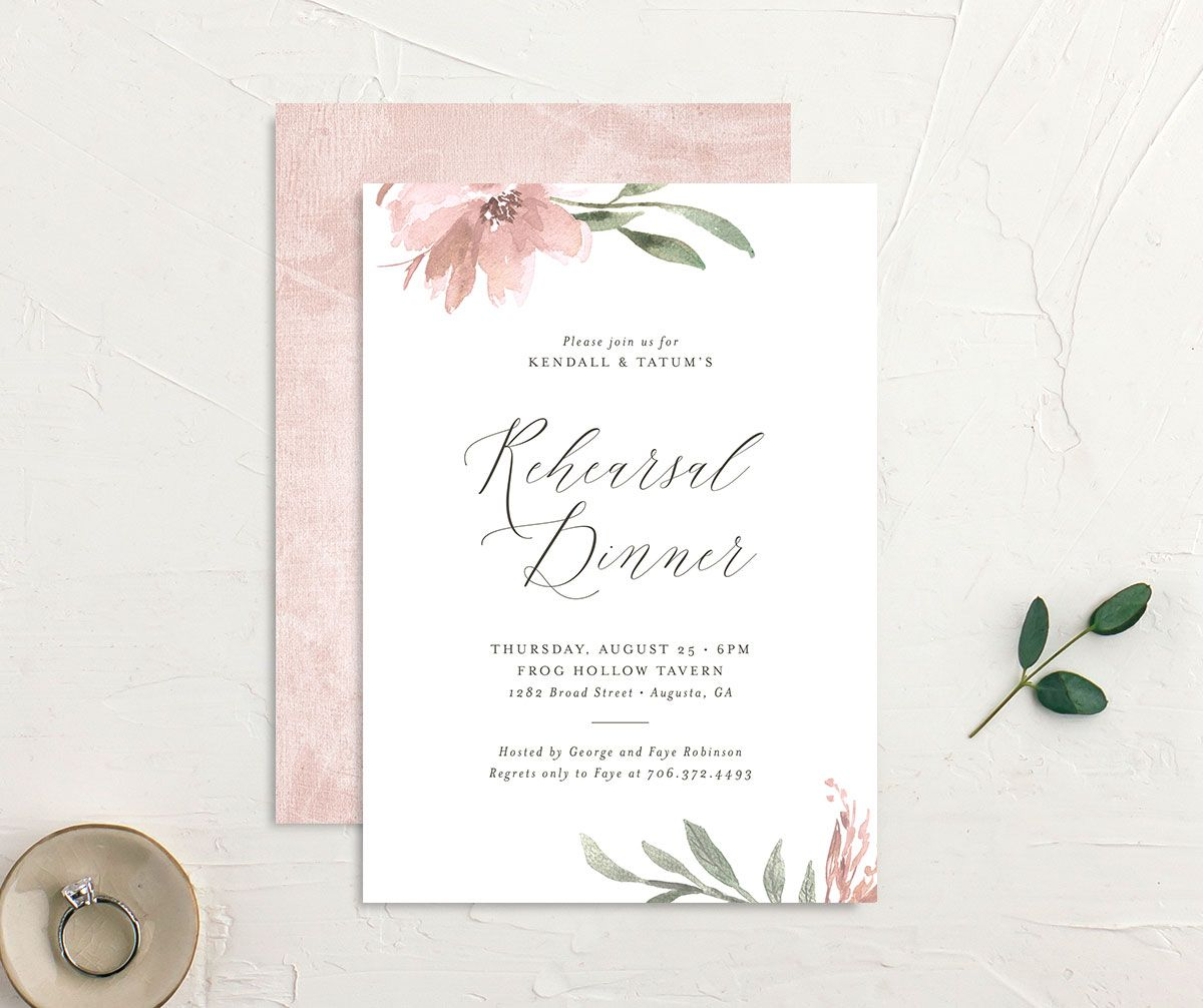 Muted Floral Rehearsal Dinner Invitation front and back pink