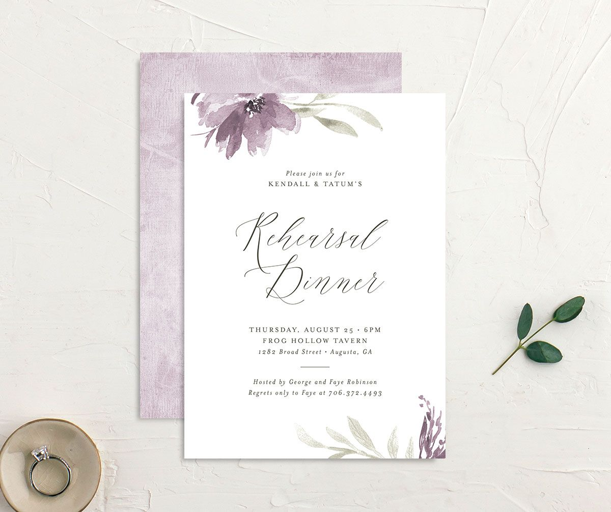 Muted Floral Rehearsal Dinner Invitation front and back lilac