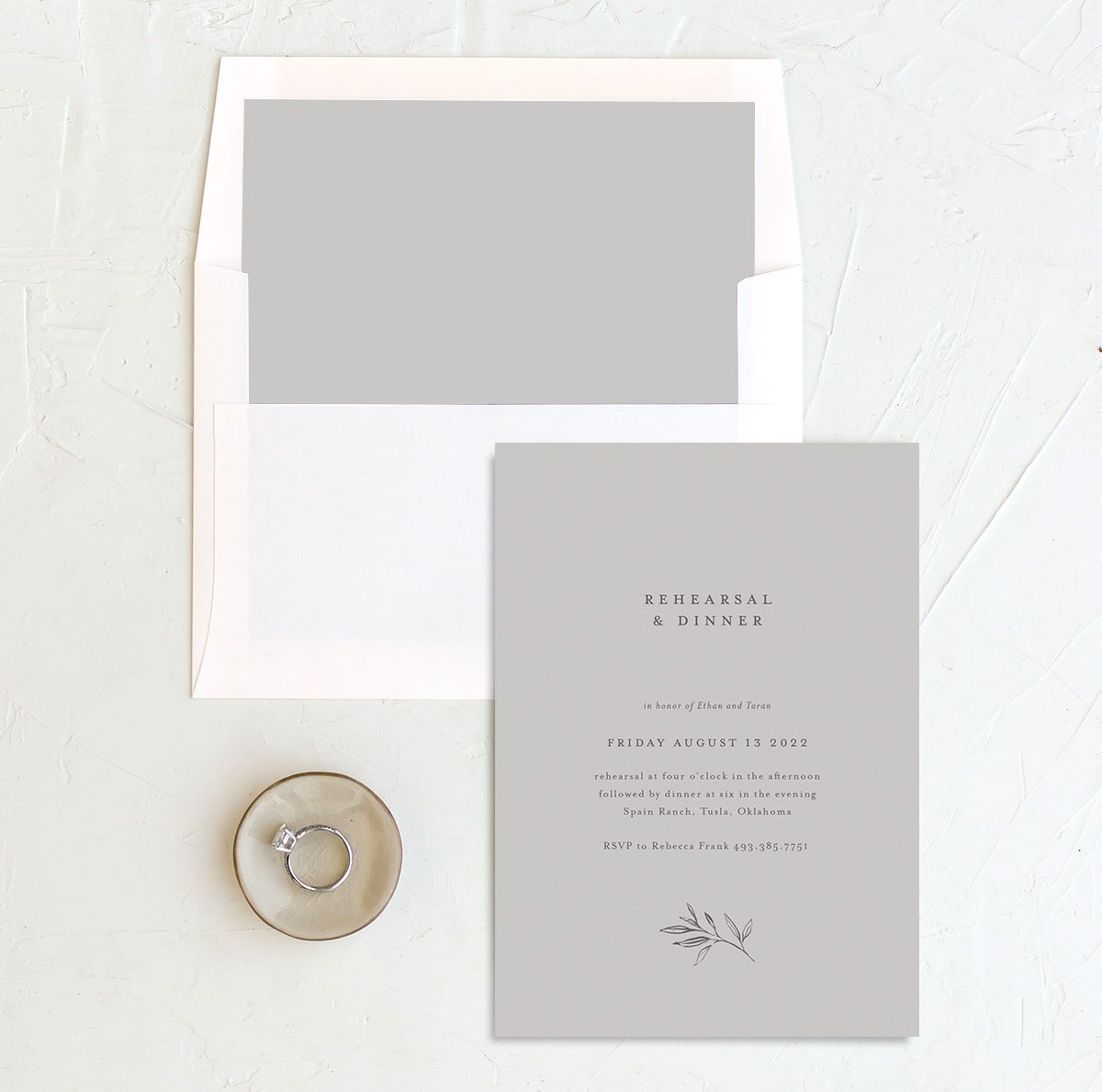 Minimal Leaves rehearsal dinner invitation with liner