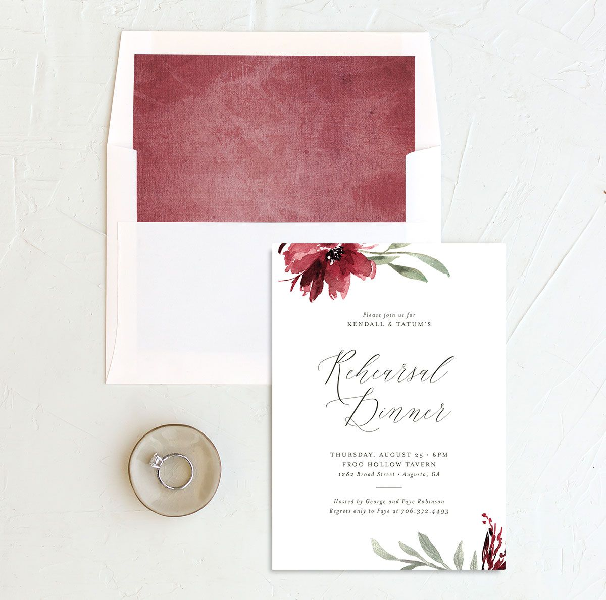 Muted Floral Rehearsal Dinner Invitation front envelope liner berry