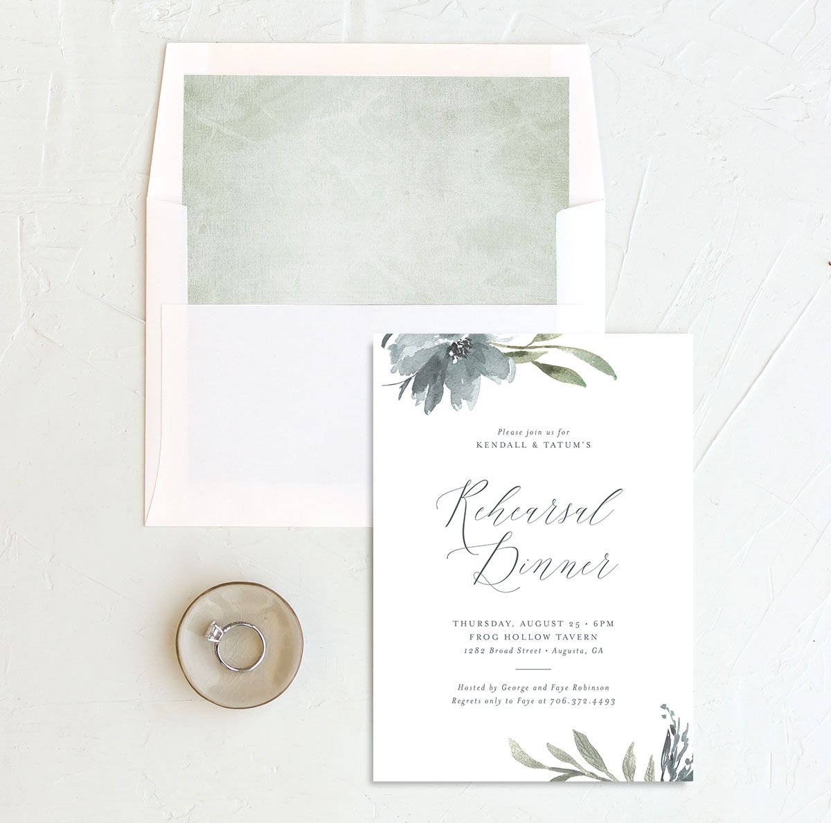 Muted Floral Rehearsal Dinner Invitation front envelope liner blue