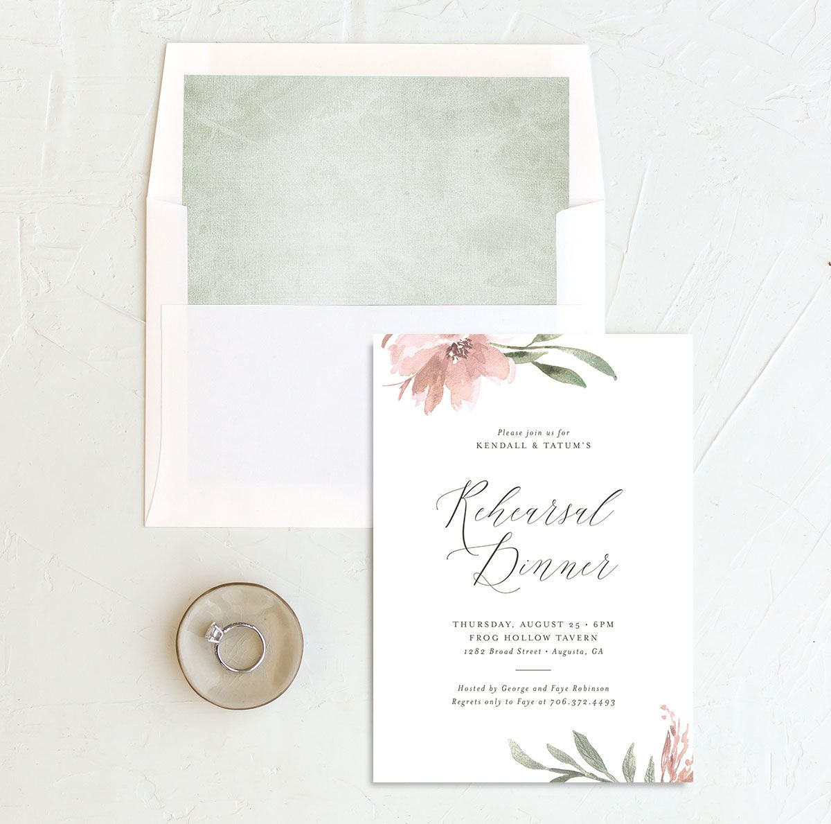Muted Floral Rehearsal Dinner Invitation front envelope liner pink