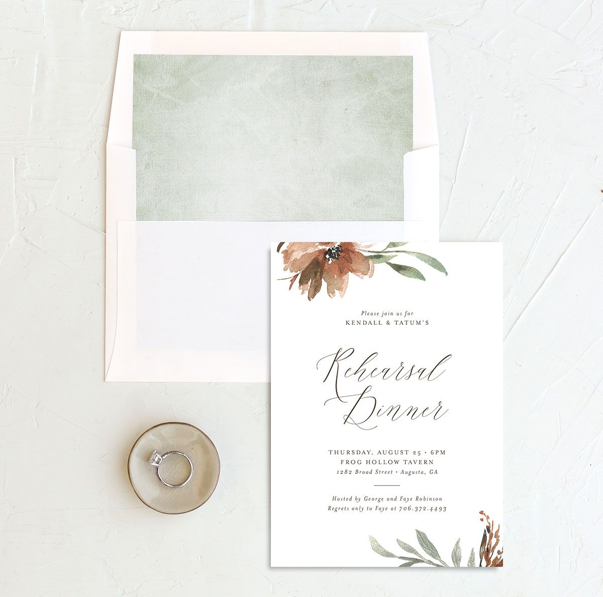 Muted Floral Rehearsal Dinner Invitation front envelope liner copper