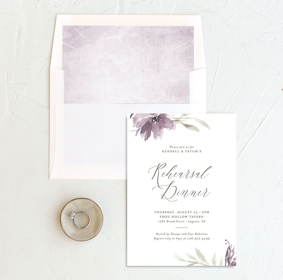 Muted Floral Rehearsal Dinner Invitation front envelope liner purple