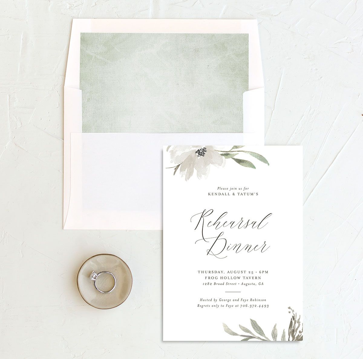 Muted Floral Rehearsal Dinner Invitation front envelope liner white