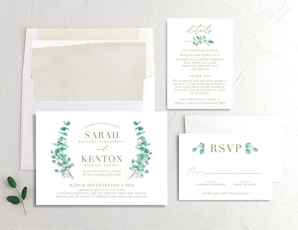 Elegant Eucalyptus wedding invitation suite