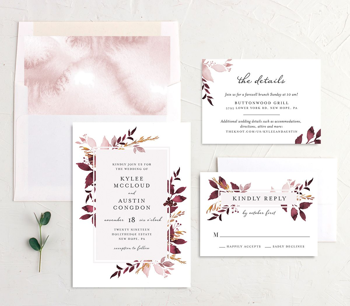Leafy Frame wedding invitation suite burgundy