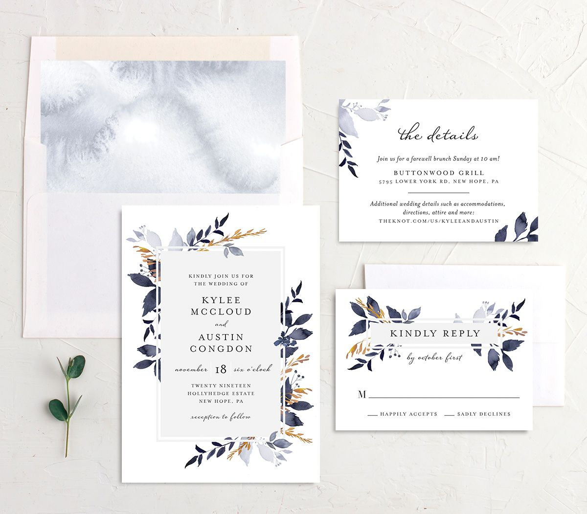 Leafy Frame wedding invitation suite navy