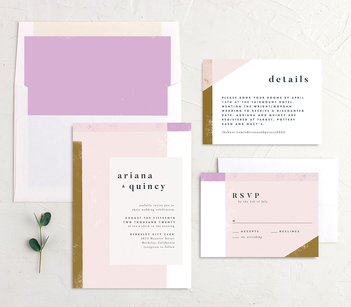 Modern Colorblock wedding invitation suite pink