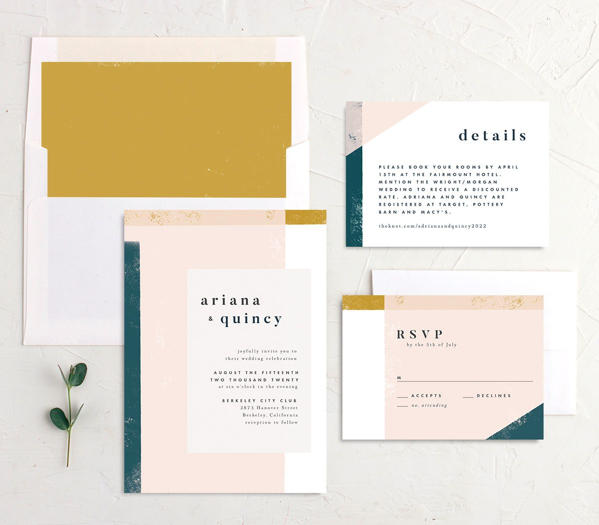 Modern Colorblock wedding invitation suite teal