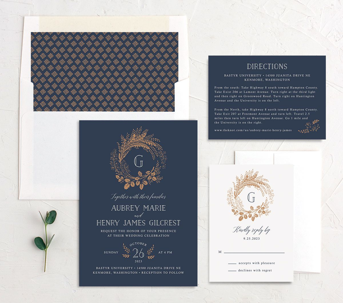 Woodsy Wreath wedding invitation suite blue