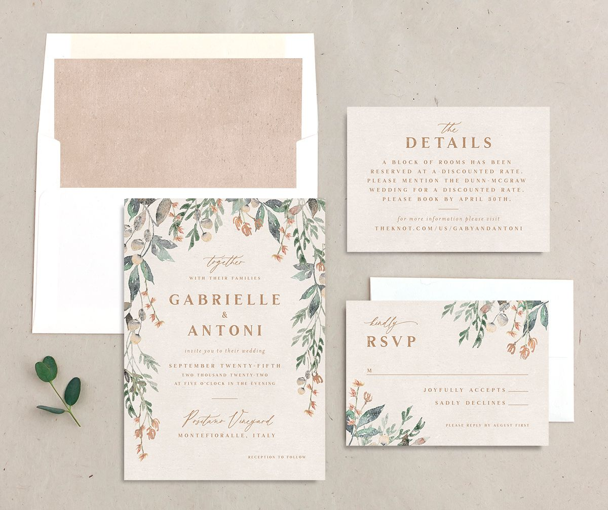 Rustic Vines wedding invitation suite
