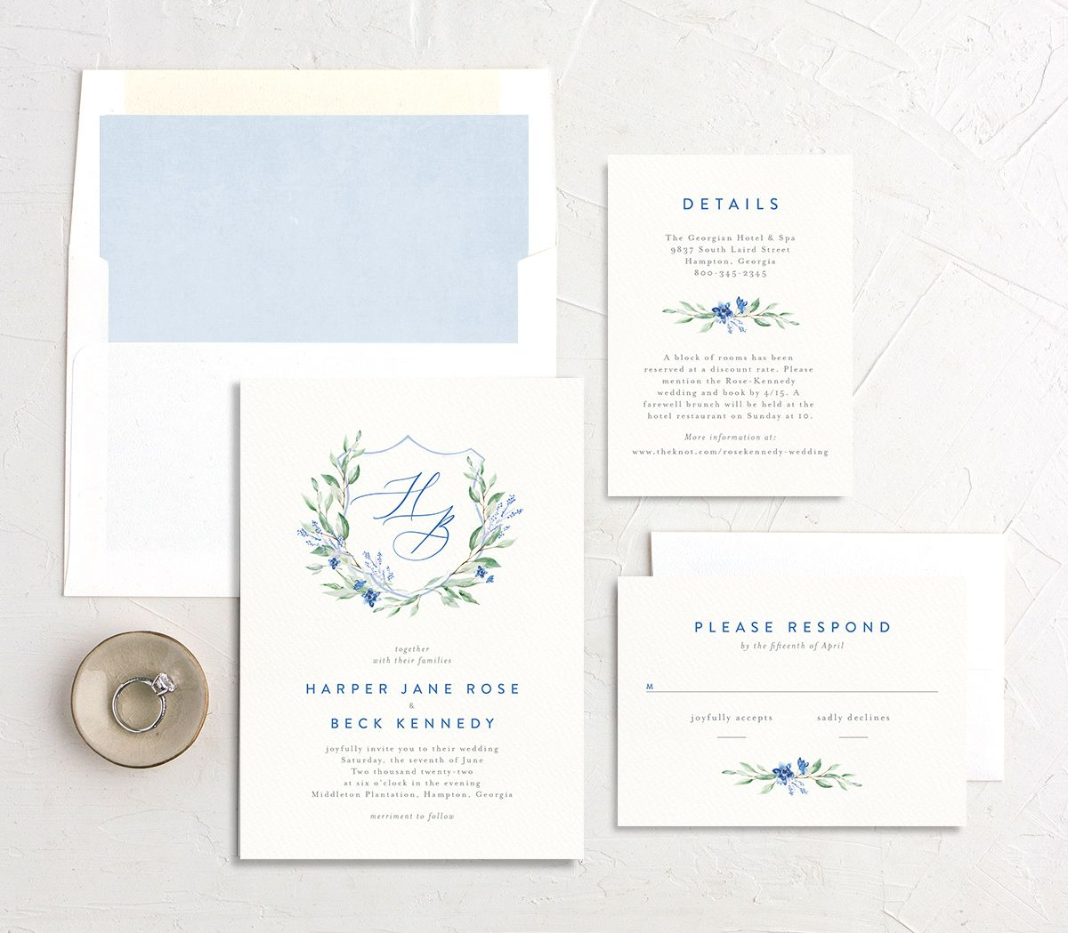 Watercolor Crest wedding suite blue