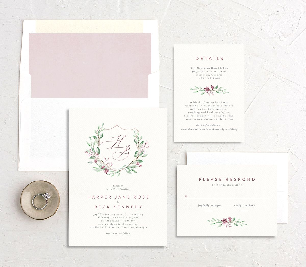 Watercolor Crest wedding suite pink
