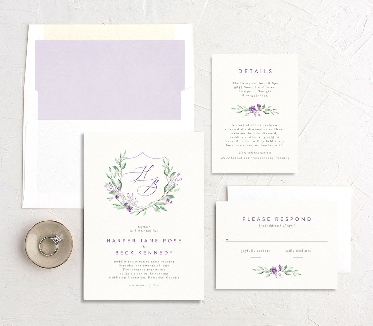 Watercolor Crest wedding suite purple