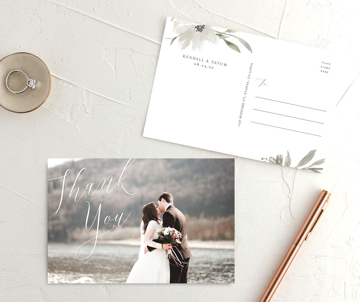 Muted Floral Wedding Thank You Postcard front white
