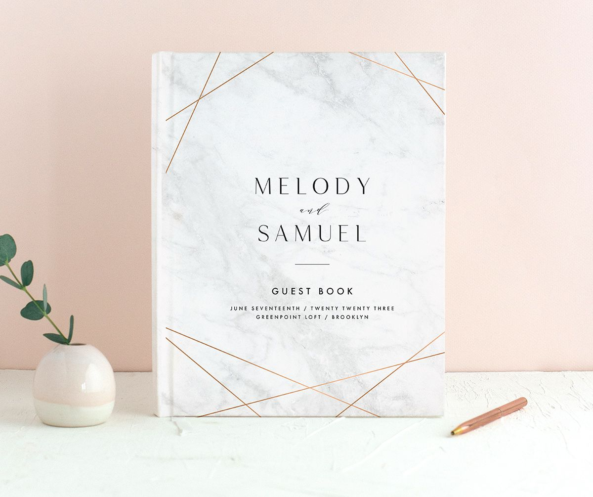Geometric Marble Wedding Guest Book front