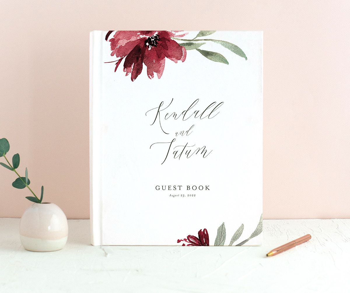 Muted Floral Wedding Guest Book front berry