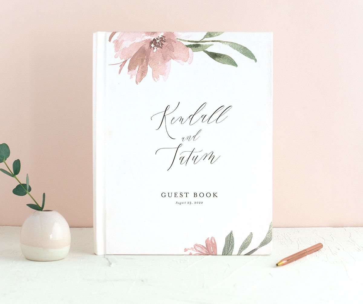Muted Floral Wedding Guest Book front pink