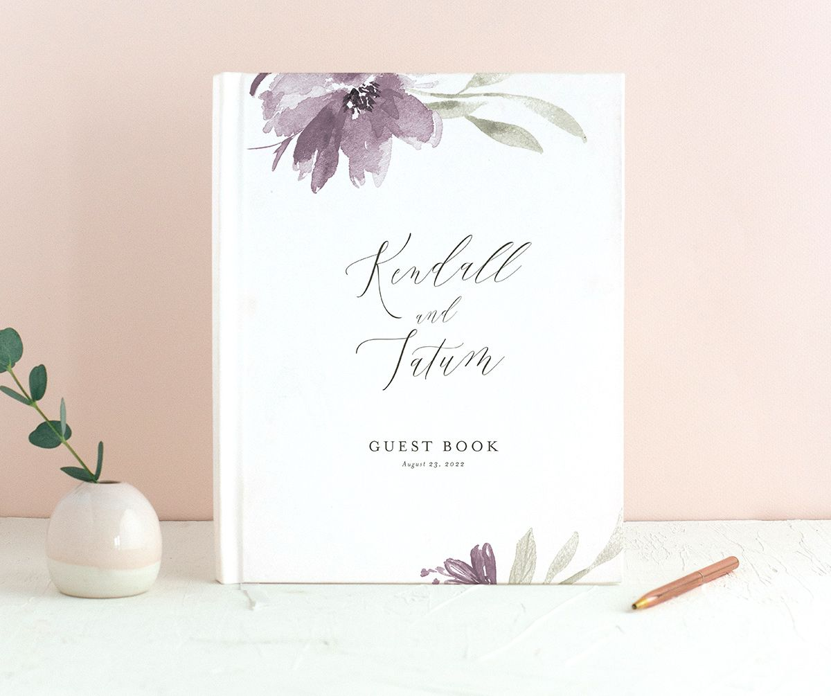 Muted Floral Wedding Guest Book front purple