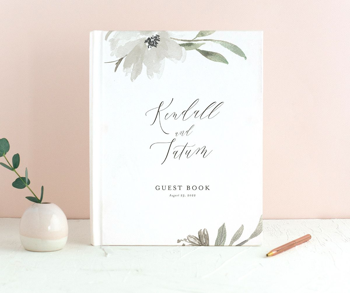 Muted Floral Wedding Guest Book front white