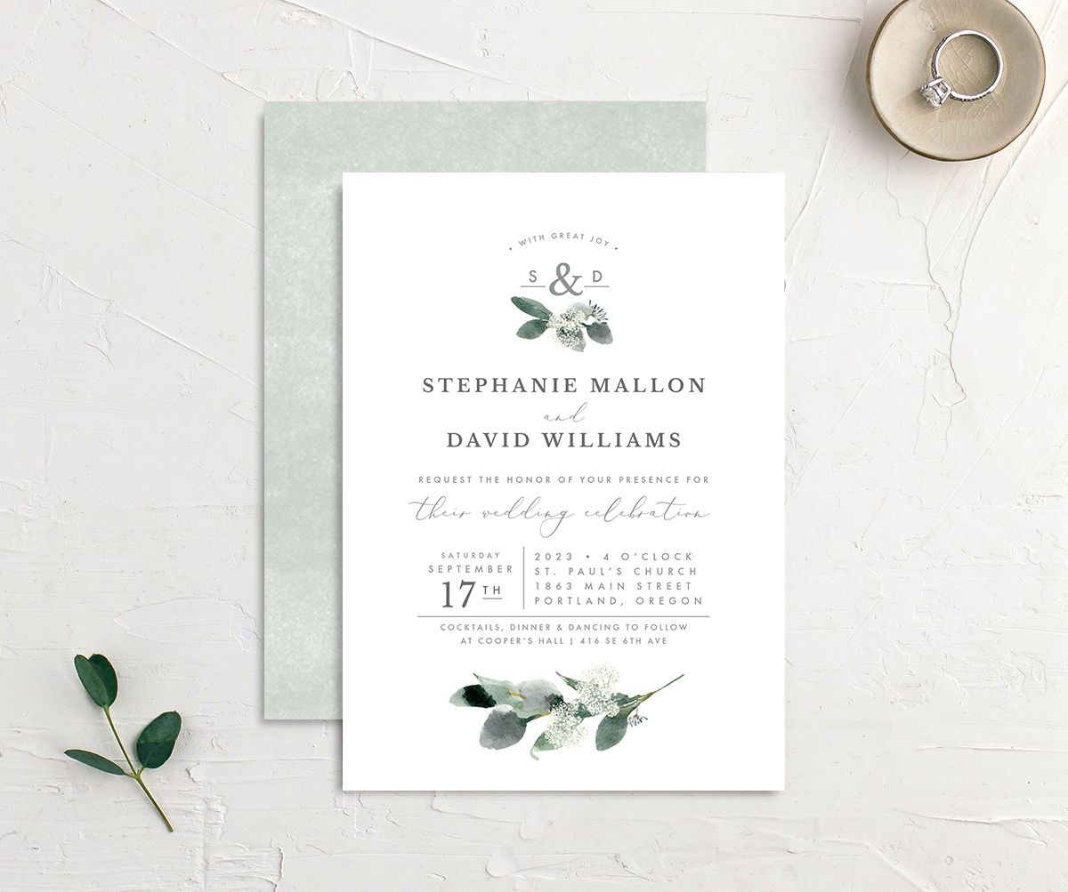 Greenery Branches wedding invitation front and back