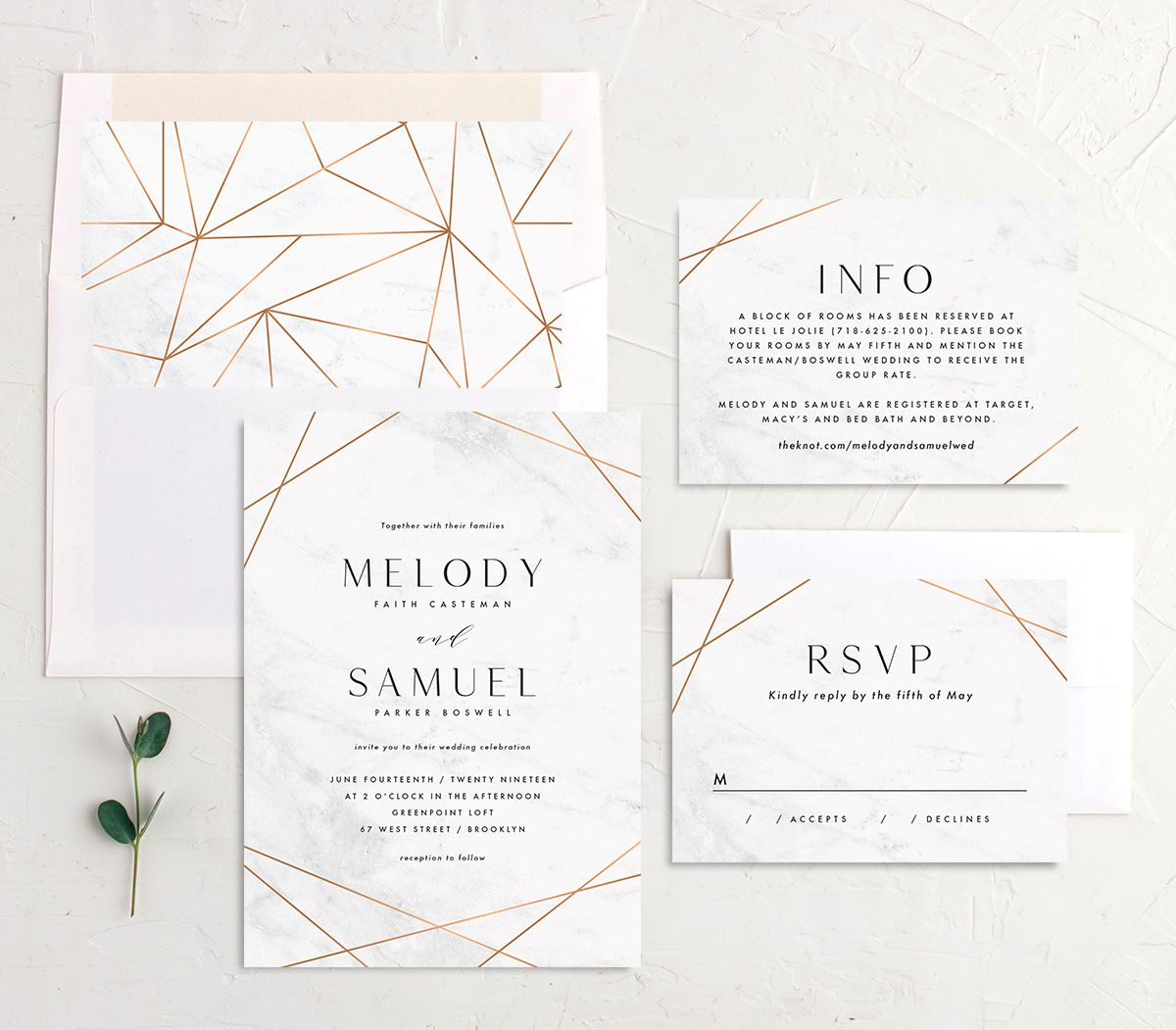 Geometric Marble Wedding suite