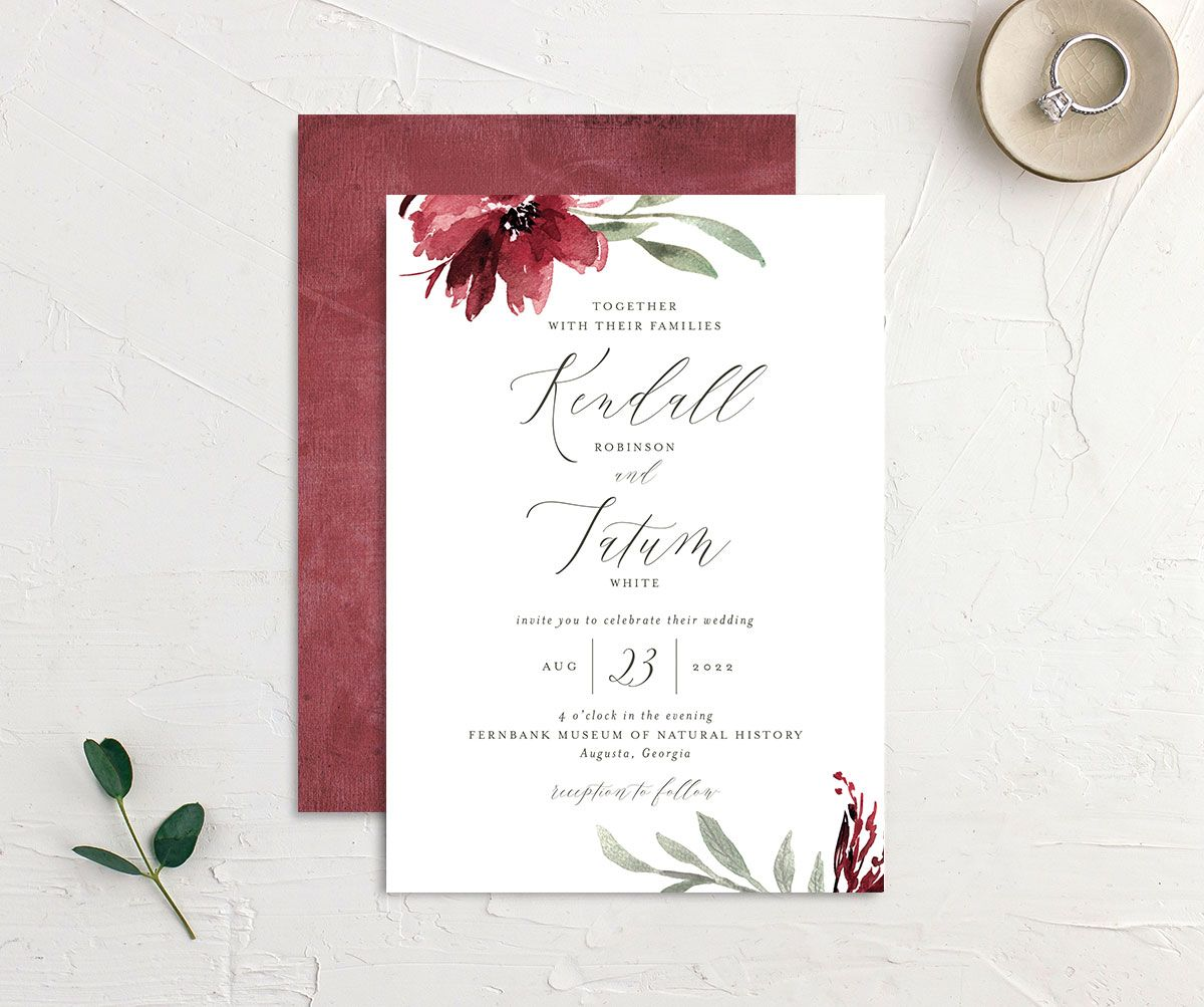 Muted Floral Wedding Invitation front and back berry