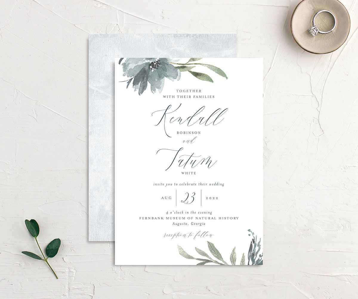 Muted Floral Wedding Invitation front and back blue